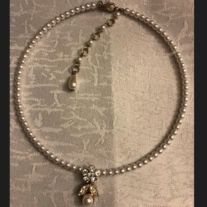 Jewelry - Silver & gold necklace w pearls & cubic zirconia
